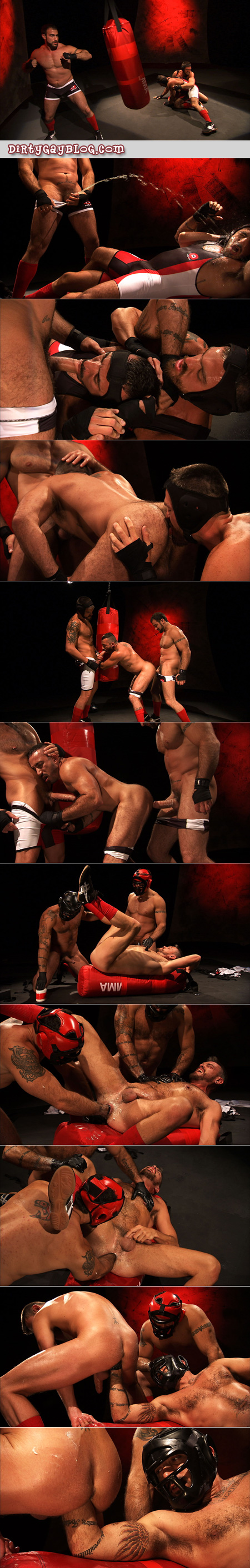 Three hairy mature men have gay sex in sportswear, including boxing gear, punch fucking, watersports and getting filled from both ends.