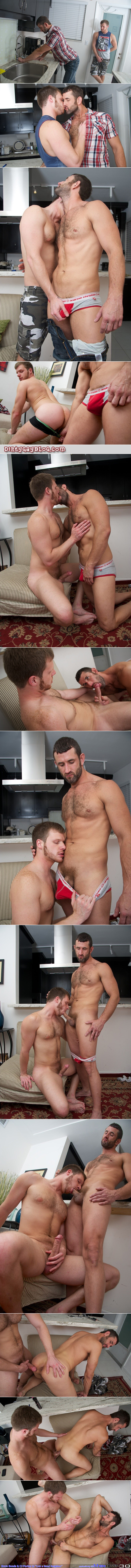 Bearded ginger has gay anal sex with his tall, dark, handsome plumber.