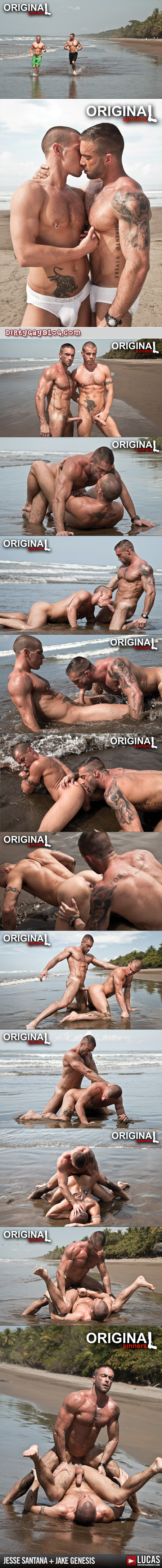 Two veiny, muscular, heavily tattooed men fuck outside on a muddy nude beach.