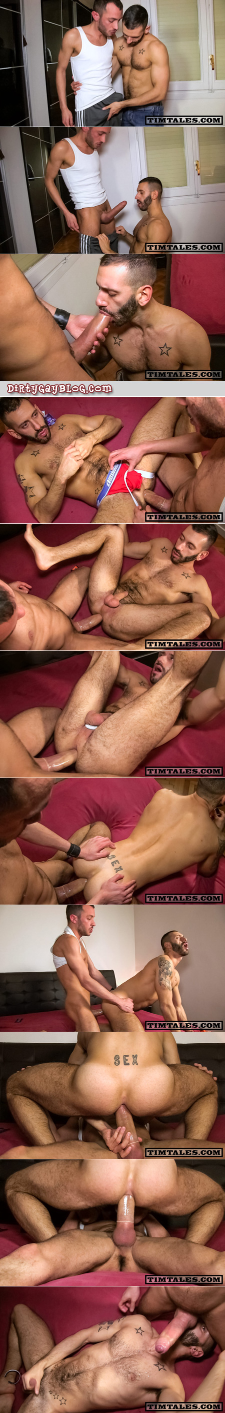 Short, ripped, hairy Italian loves being fucked with gigantic uncut cocks.