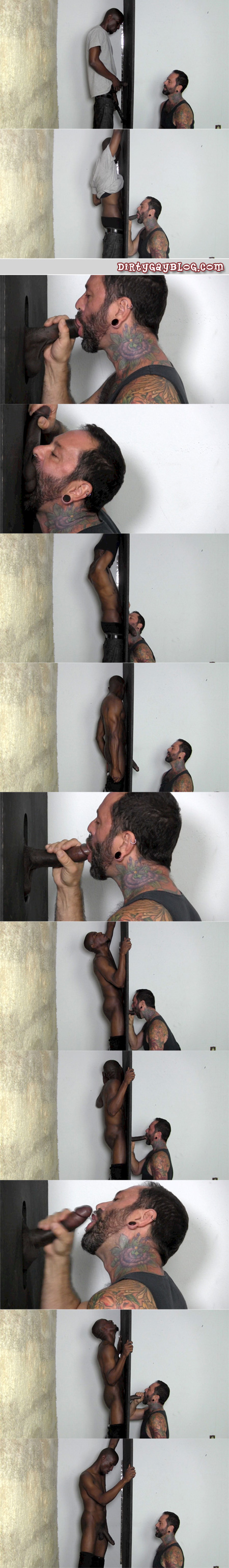 Straight black man with an enormous dick gets sucked off by a male cum swallower at an anonymous gloryhole.