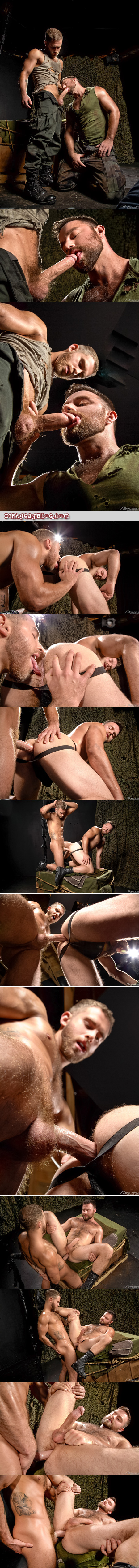 Muscular, hairy military man fucks his beefy sergeant in their black leather boots and jockstraps.