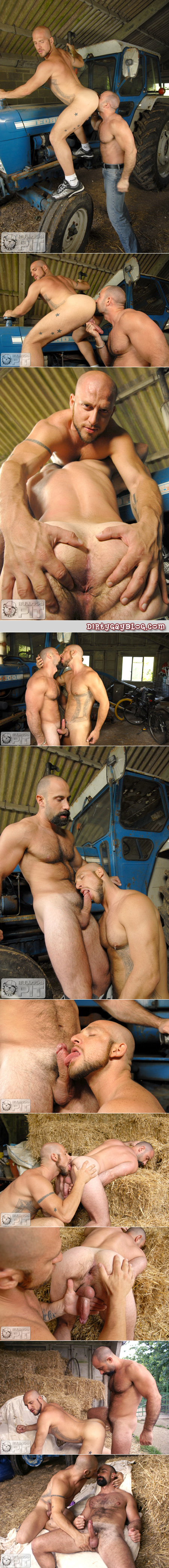 Butch, hairy Spanish men flip-fuck loudly in the barn.