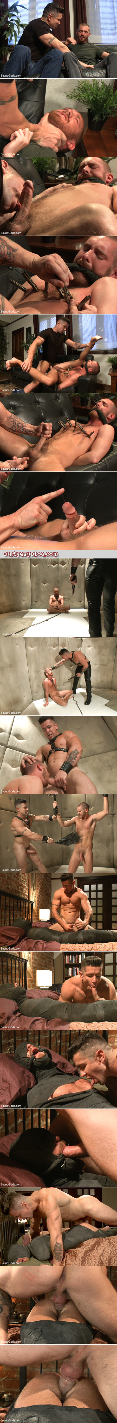 Tattooed muscleman with a big dick uses a scruffy young guy in gay bondage as his personal sex slave.