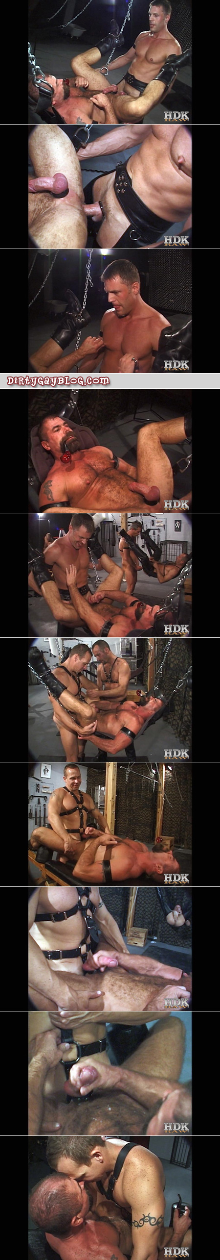 Bareback leather orgy among older men, including a hairy pipe-smoking Daddy being fucked in a sling.