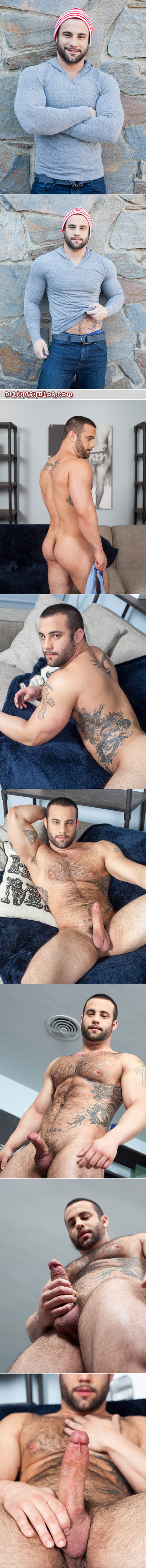 Hairy bodybuilder with lots of tattoos jacking off.