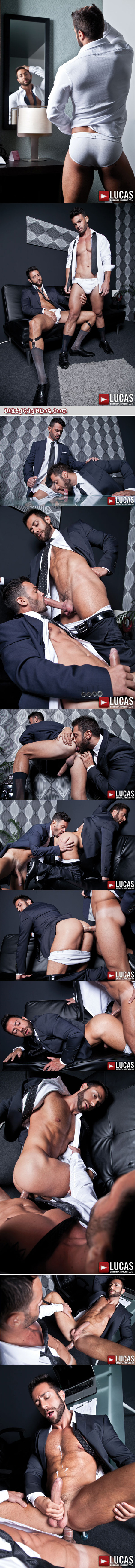 Hung Italian male is fucked by another hung businessman in a suit and shoots a huge load.