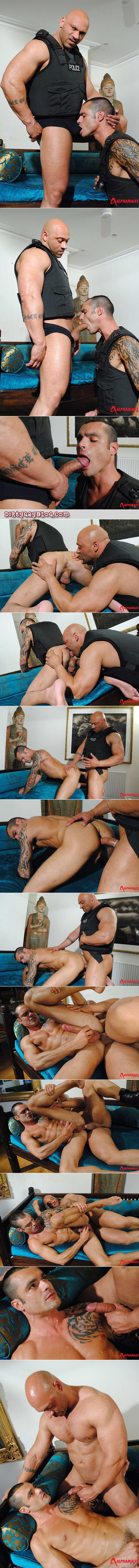 Bodybuilder cop fucks his heavily tattooed police partner with his thick, uncut cock.