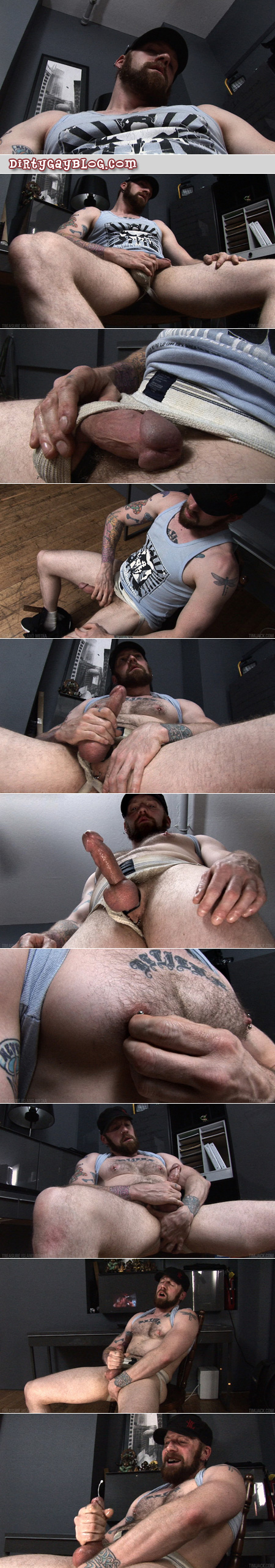 Beefy, hairy, pierced ginger beating off in an old jockstrap.