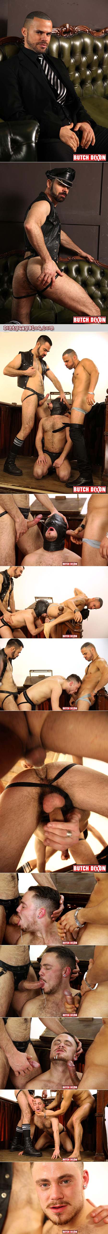 Horny priest lives out his leather group sex fantasy.
