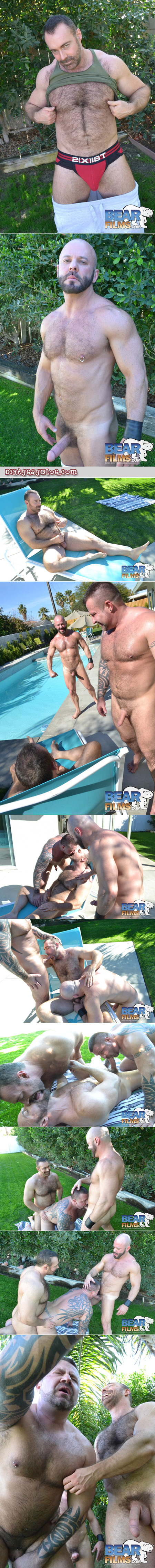 Hairy bears have a threeway outside by the pool.