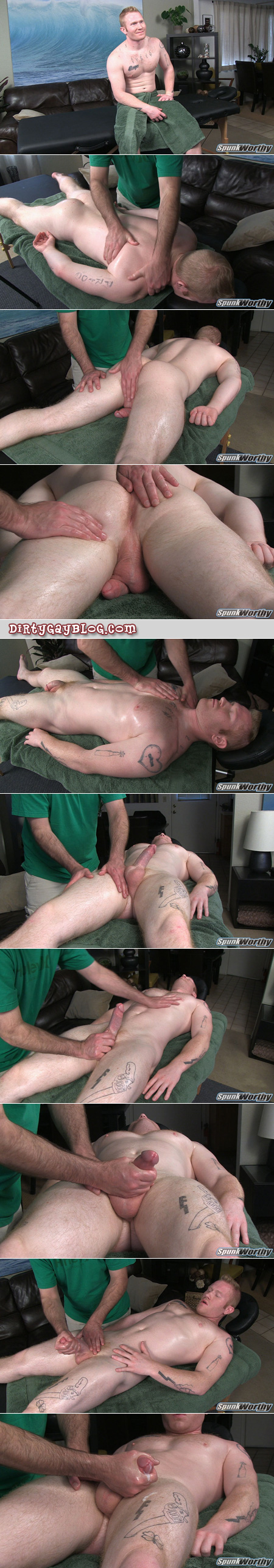 Beefy redheaded straight guy gets a happy ending from his male masseur.