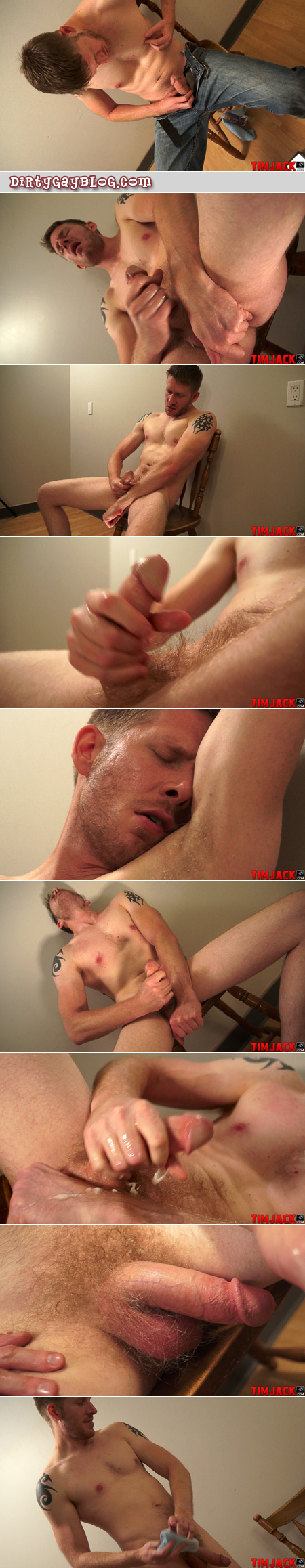 Dirty blonde scruff guy jacking off sniffs his armpits and eats his own cum.