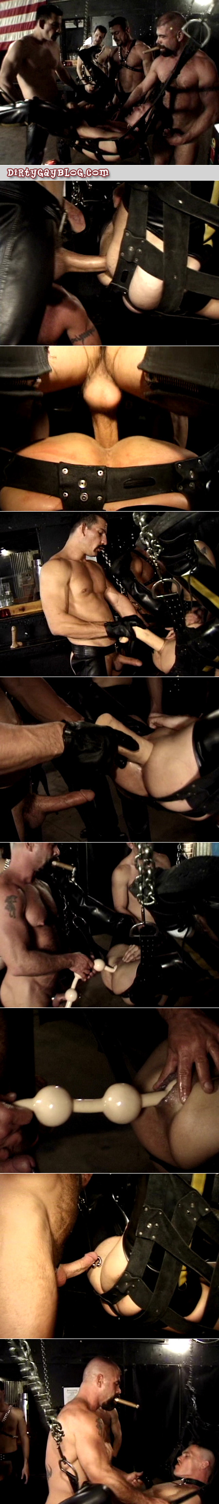 Men in a leather bar take turns fucking a power bottom in a leather sling.