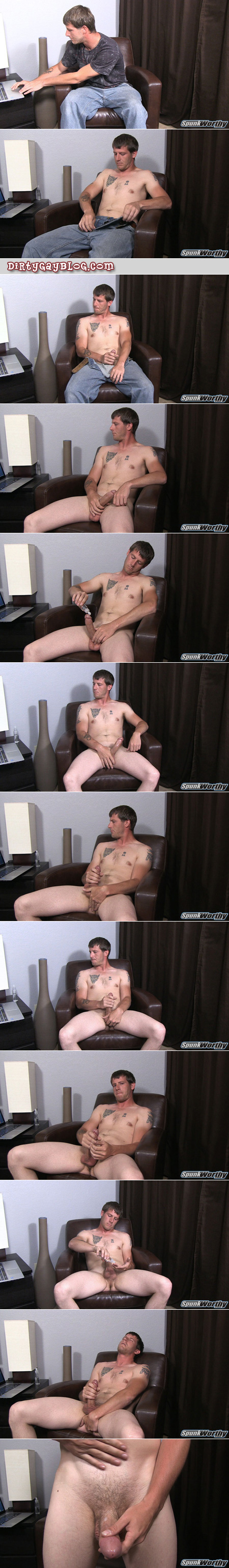 Hung straight guy masturbating to Internet porn and fingering his asshole.