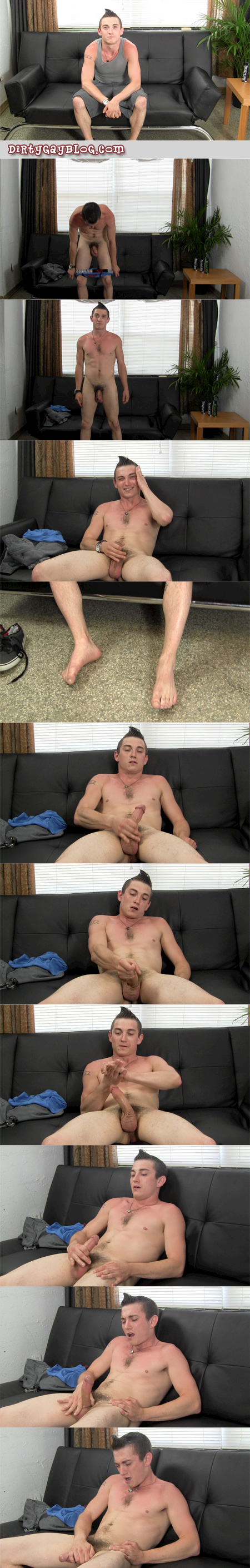 26-year-old fit, stocky guy jacking his thick cock.