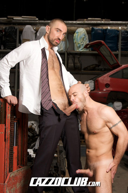 Horny hitchhiker blowing the businessman who gave him a ride.