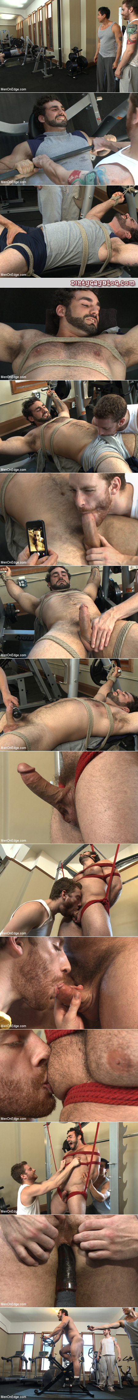 Hairy Greek bodybuilder captured at the gym, bound and edged for hours.