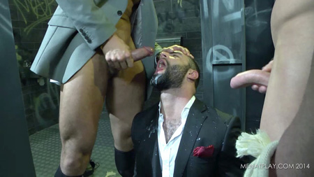 Hung uncut men piss and cum on an Italian man in a suit.