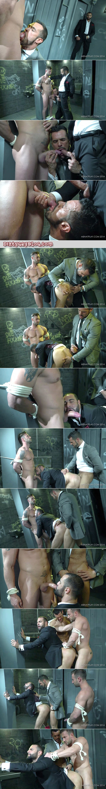 Bound straight guy gets free and, with his captor, cum and piss on a voyeur in a businessman's suit.