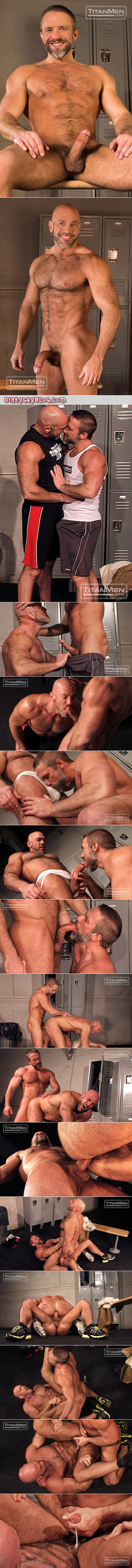 Hairy salt-and-pepper muscle Daddies having gay sex in the locker room at the gym.