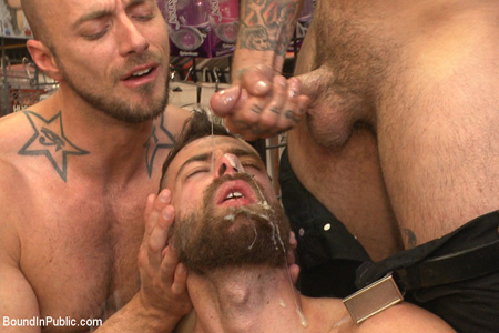 Hairy guy getting his beard soaked in load after load of semen.