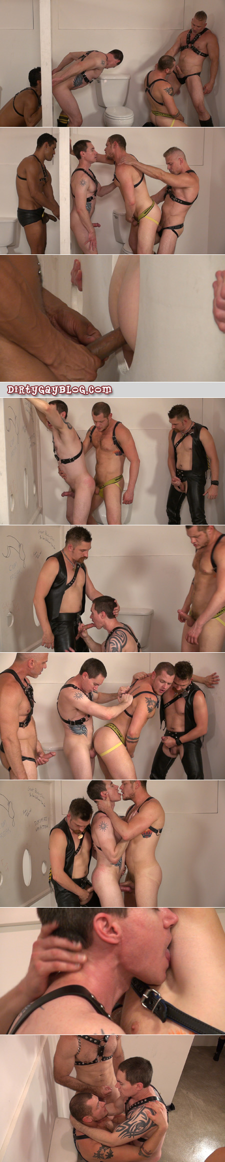 Piggy gay men having bareback group sex in a public bathroom.