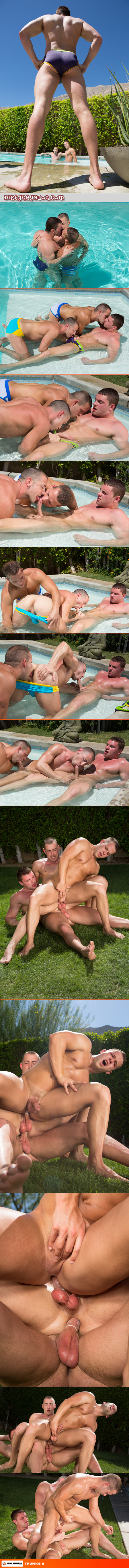 Young men in Speedos having a threeway in the pool.