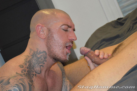 He takes huge multiple loads to his face, throat and ass.