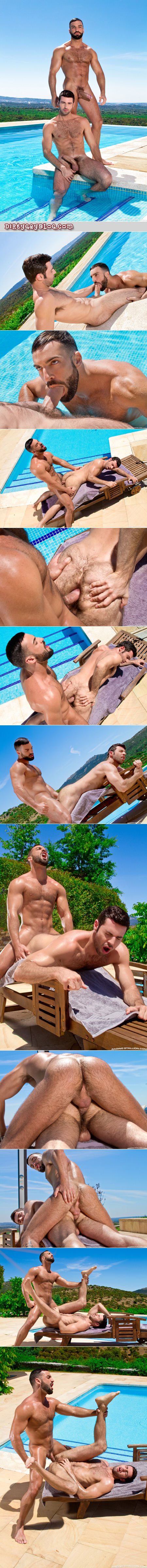 Hairy Arab muscle man  fucking a furry Italian guy's ass by the pool.