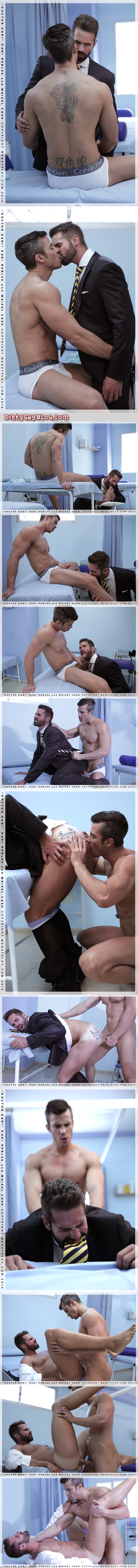Ripped muscle athlete fucks a bearded doctor wearing a suit.