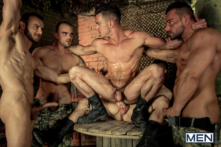 Straight guy getting fucked by multiple army men in his hairy, muscular ass.