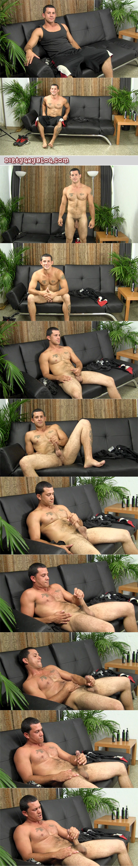 Well-hung, hairy Latino dad jacking his enormous uncut cock.