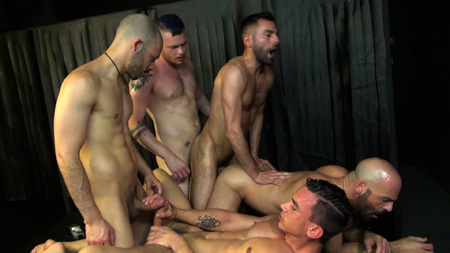 Five men barebacking each other at the same time.