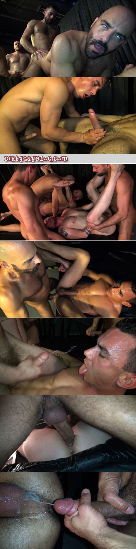 Gay sex bareback orgy fills lots of cum lovers' holes with semen.
