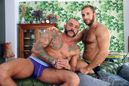 Tattooed, hairy Spanish men in only their tight briefs.