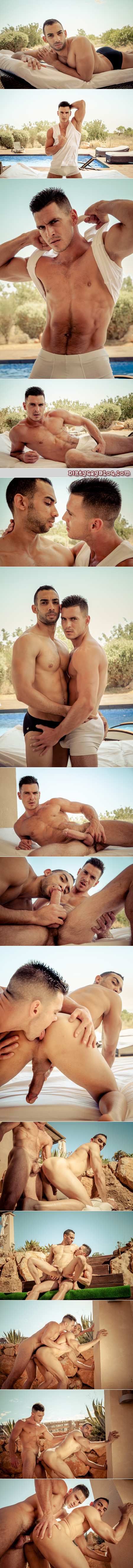 Well-hung muscle stud with furry abs fucks a tall Spanish muscleman with his huge cock.
