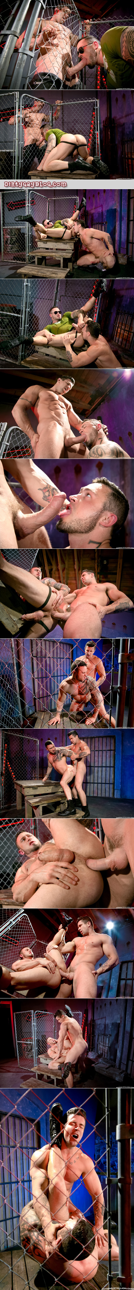 Inked muscle man fucking another tattooed bodybuilder with his enormous cock.