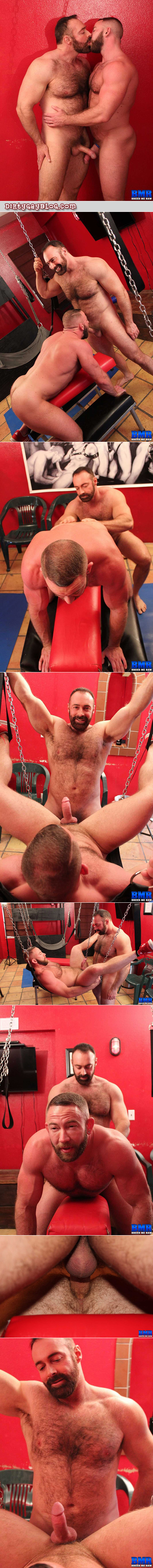Muscle bears fucking bareback using different slings and sex furniture.