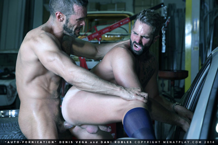 Muscular, bearded man in OTC sheers being fucked by his muscular mechanic.