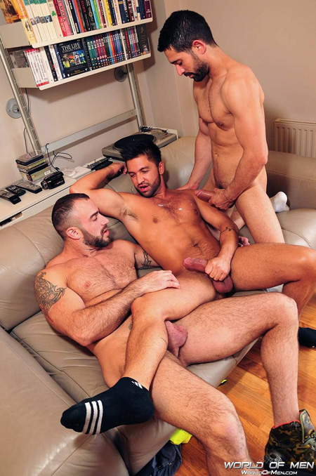 Three olive-skinned gay men cumming on each other with their thick cocks.