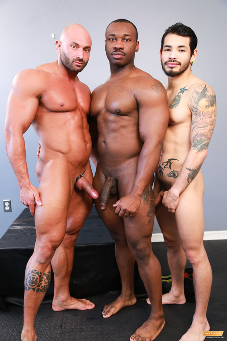 Naked male bodybuilders white, black and latino.