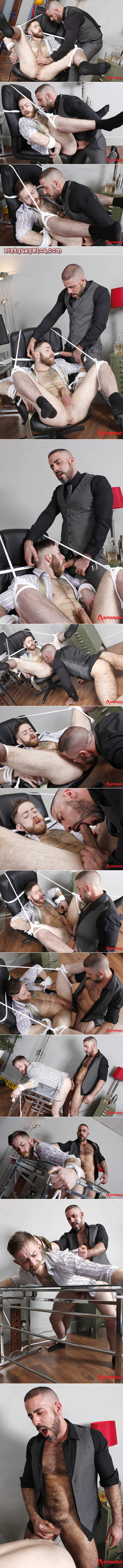 Gay bondage and forced gay sex between a businessman and his male boss in suits.