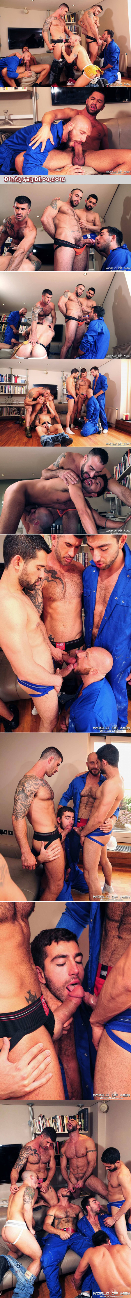 Hairy, muscular construction workers in jockstraps having a gay sex orgy.
