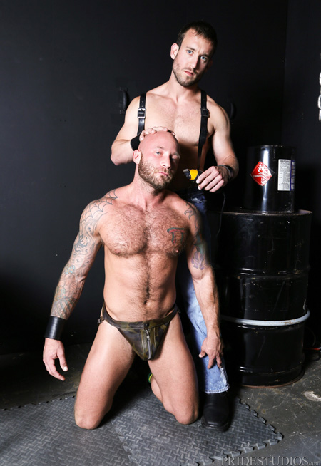 Leather pup about to have his beard shaved off by his Sir.