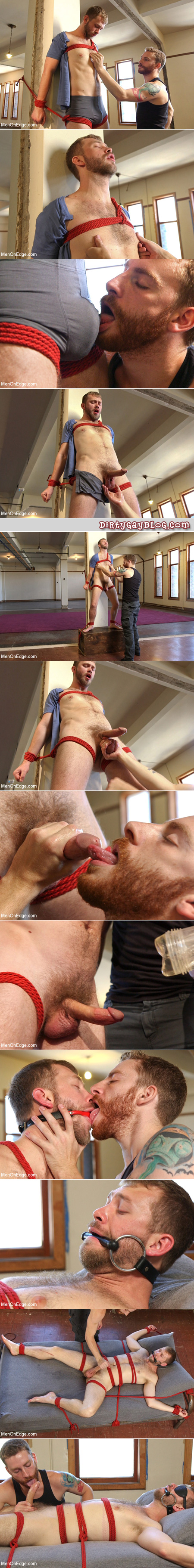 Gay bondage and edging with two hairy, bearded young men.