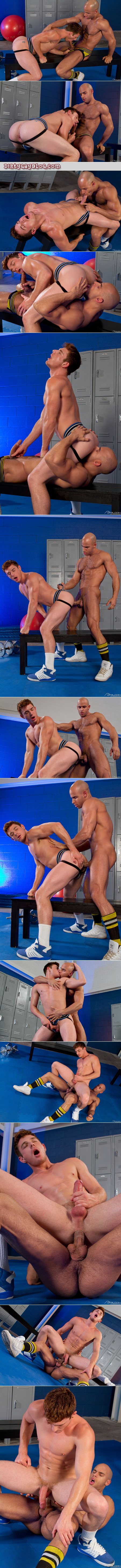 Redheaded young guy in a jockstrap fucked by his slim, muscular workout buddy.