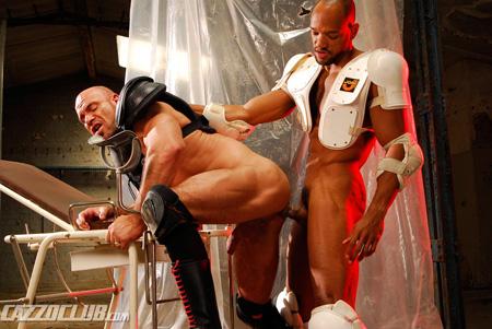 Brazilian gladiator fucking a bald mature warrior in his ass.