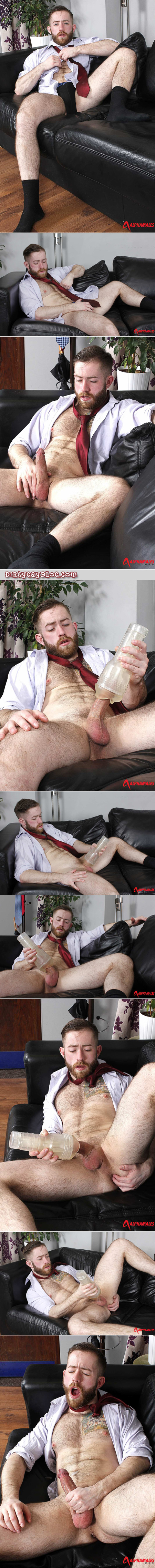 Ginger cub in a dress clothes jacking off on the office couch with a Fleshjack.