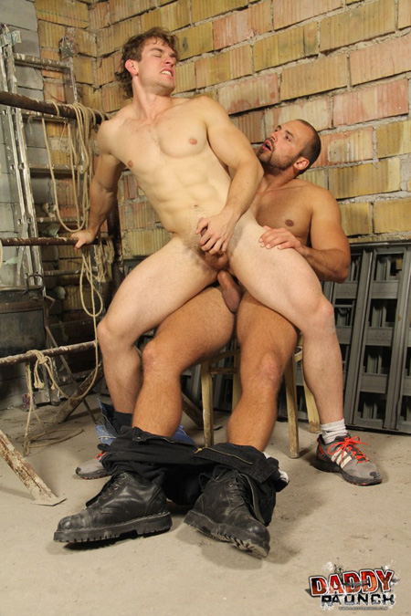 White male with huge muscular legs sitting on a Hungarian's cock.